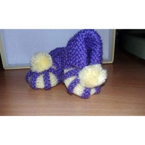 Вязаные пинетки фиолетово-желтые